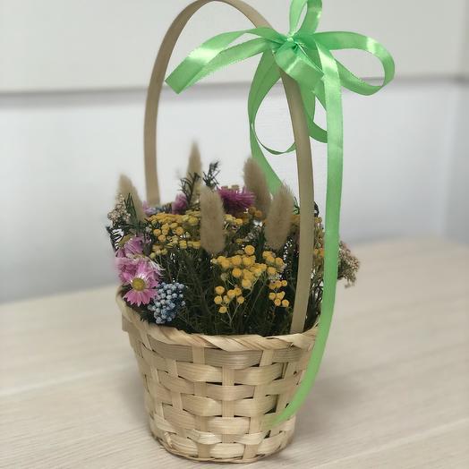 Букет из сухоцветов в корзине: букеты цветов на заказ Flowwow