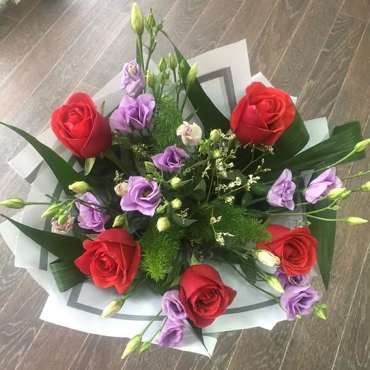 A bouquet of roses with Lisianthus🌿: flowers to order Flowwow