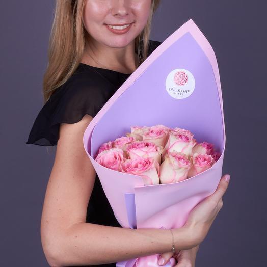 15 роз премиум класса Эсперанс (стеклянная ваза в подарок, см. условия акции)