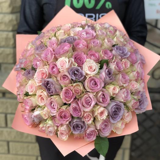 Букет из 101 розы микс в светлых тонах