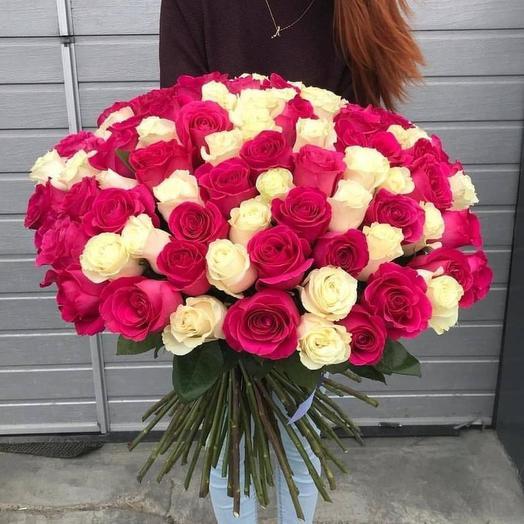 Эквадорские розы микс 101 шт: букеты цветов на заказ Flowwow
