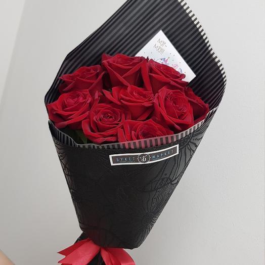 9 красных роз в черной упаковке: букеты цветов на заказ Flowwow