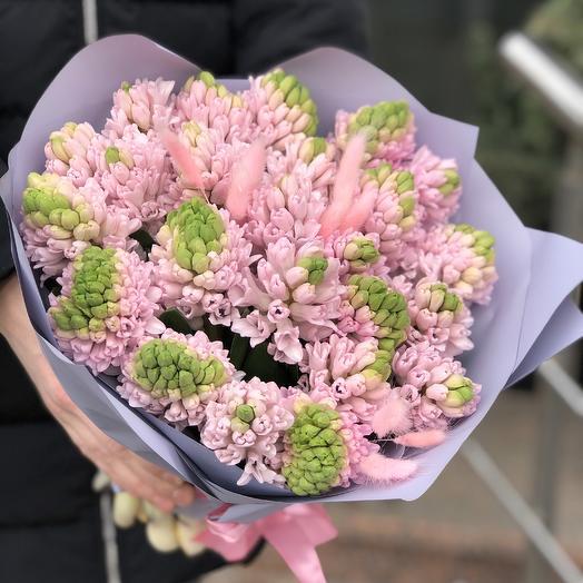 Моно букет из розовых гиацинтов