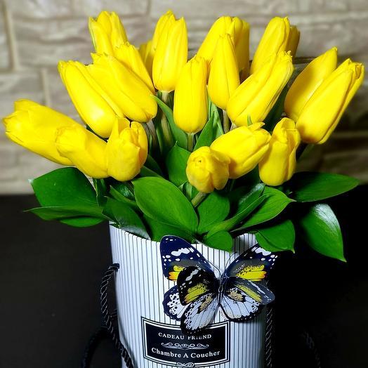 25 желтых тюльпанов в коробе
