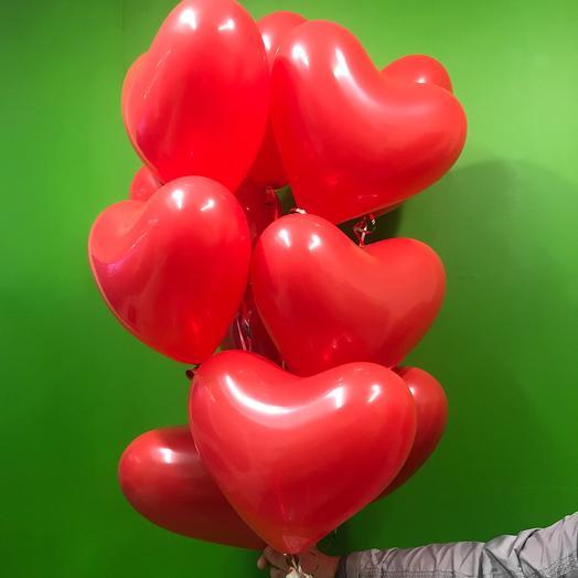 11 шаров в форме сердца