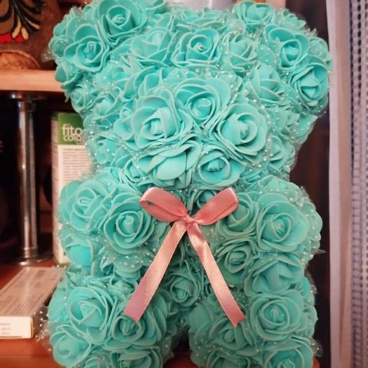Мишка с розами с фоамирана