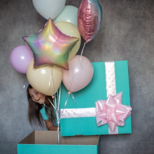 Шары в коробке «сюрприз» цвет радуга