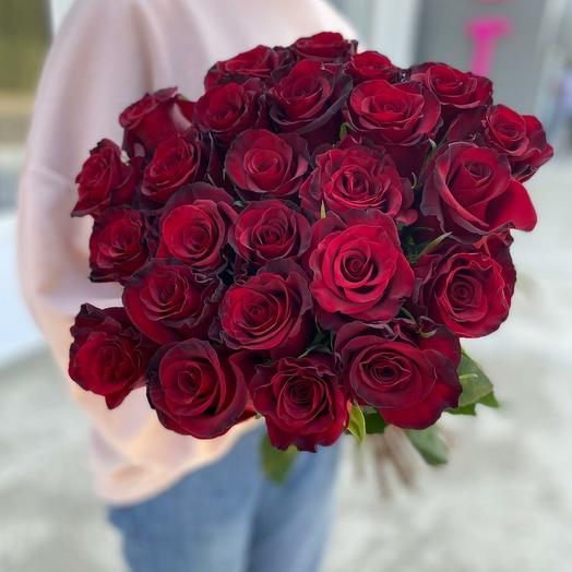 Букет из красных роз 25 штук