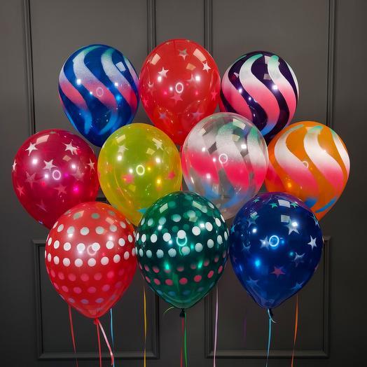 Воздушные разноцветные шарики серпантин 20 шт