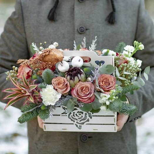 Ящик с цветами «Хрустальная птичка»