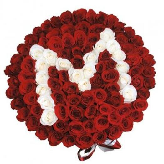 Коробка с любой буквой(101 роза)