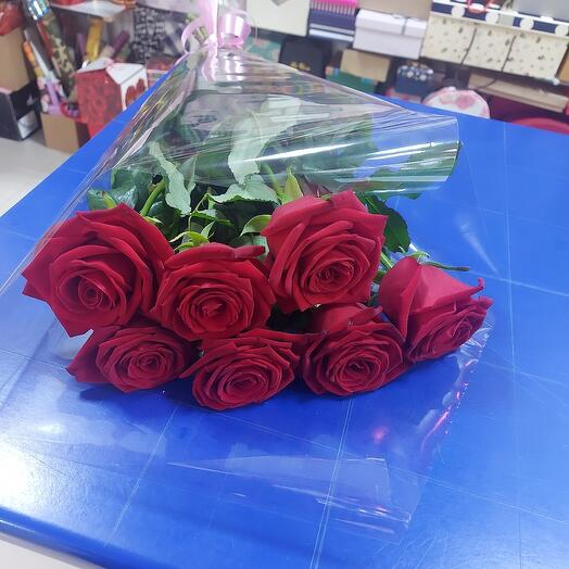 Роза красная 7 шт  80 см