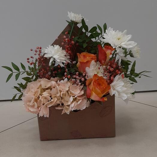 Цветы в коробке(Конверт Валентина)