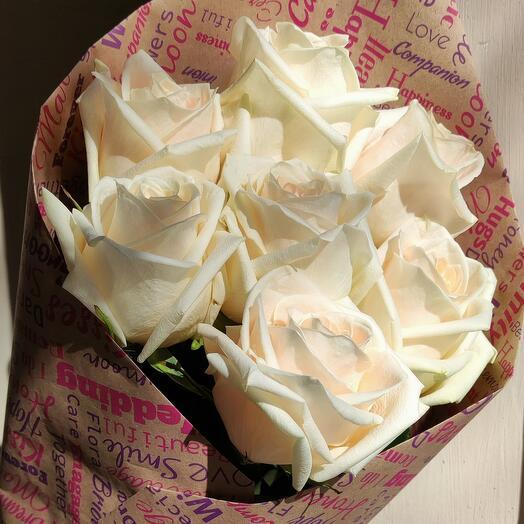 Роза в крафте 7шт