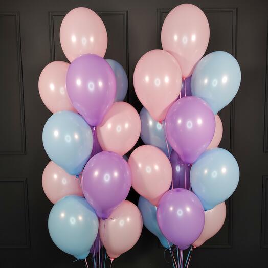 Воздушные шарики ассорти нежные цвета 25 шт