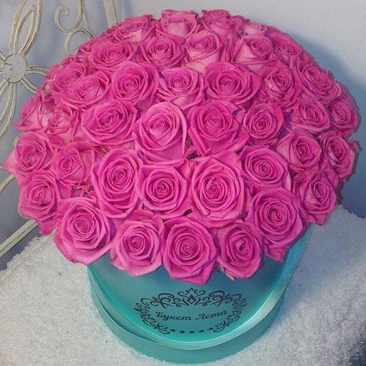 51 розовая роза в большой коробке Тиффани