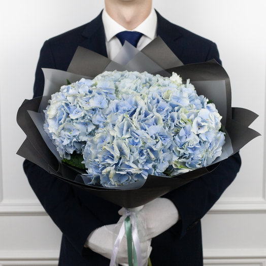 Букет из 5 синих гортензий: букеты цветов на заказ Flowwow