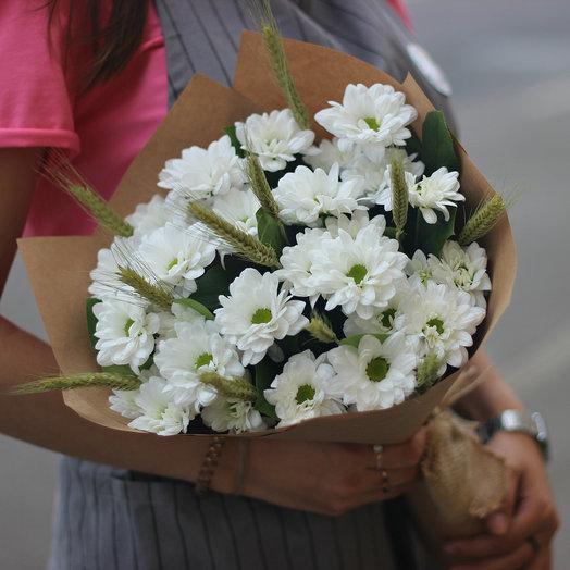 Ромашковая хризантема с пшеницей: букеты цветов на заказ Flowwow