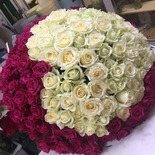 Сердце из 165 роз: букеты цветов на заказ Flowwow