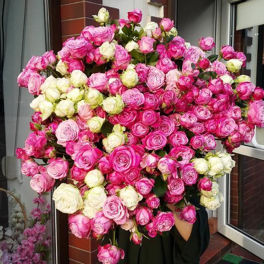 Букет из 51 кустовой розы Бомбастик