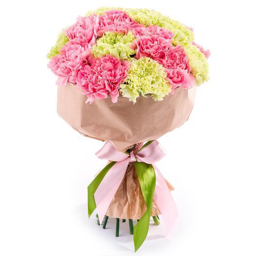 Букет из 19 гвоздик в крафте: букеты цветов на заказ Flowwow