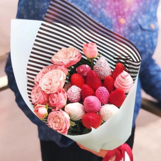 Клубничный букет «радуга»: букеты цветов на заказ Flowwow