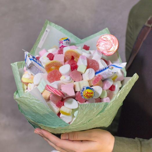 Сладкий букет из зефира и мармелада 37: букеты цветов на заказ Flowwow