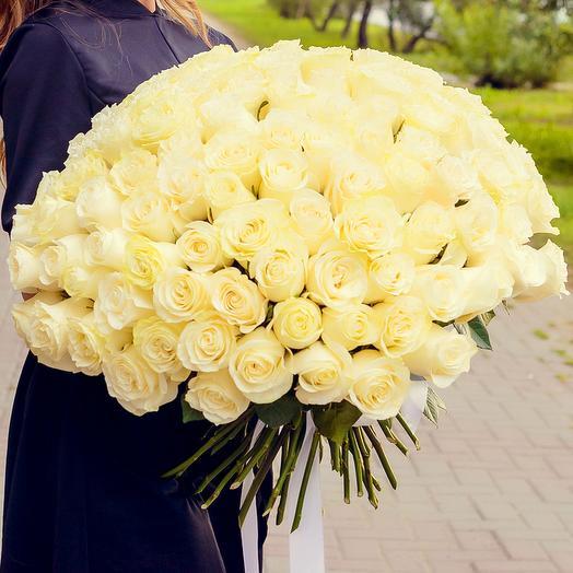 Букет из 101 белой розы (60см): букеты цветов на заказ Flowwow