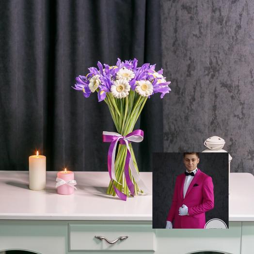 Гербера с Ирисом с премиум доставкой: букеты цветов на заказ Flowwow