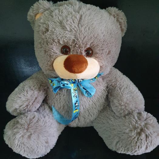 Медведь с голубым бантом: букеты цветов на заказ Flowwow
