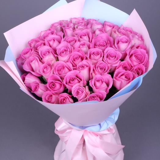 51 роза Аква (ваза в подарок см. условия акции в описании)