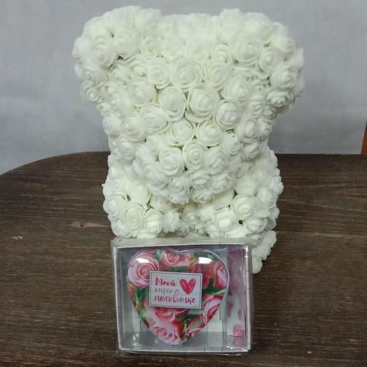 Валентинка Мишка из роз со шкатулкой: букеты цветов на заказ Flowwow