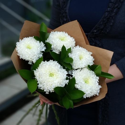Зефирный ⚪ Хризантемы одноголовые белые: букеты цветов на заказ Flowwow