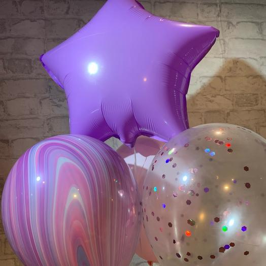 Набор шаров с звездой фиолетово-розовый
