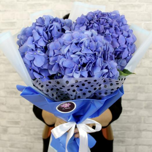 A bouquet of blue hydrangeas