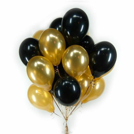 Сет из 5 шаров золотого и чёрного цвета
