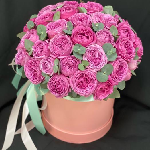 Премиум коробка из пионовидной розы