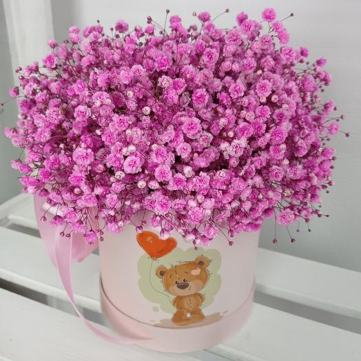 """""""Для тебя"""" 25см с розовой кружевной гипсофилой в шляпной коробке"""