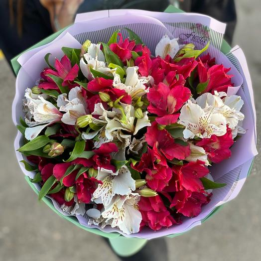 Bouquet of 9 branches of alstroemeria MiX flowers