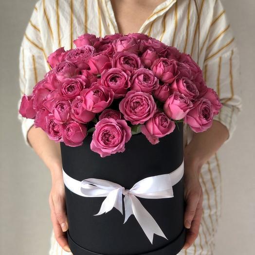 Пионовидные розы в коробке 25 штук