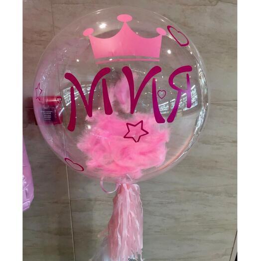 Шар баблс bubble с перьями и надписью