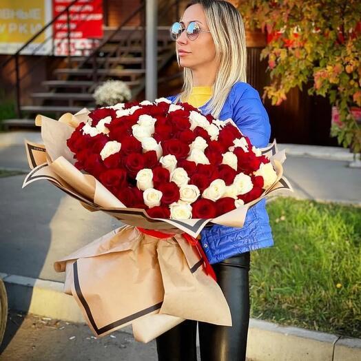 Розы 101 штука 70 см Эквадор