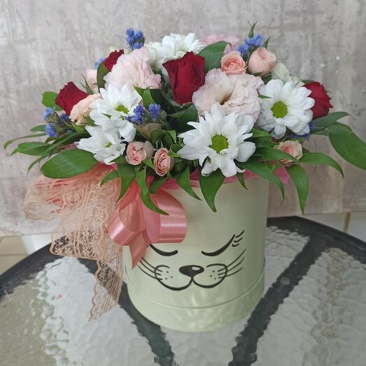 Цветы в коробке Мяу