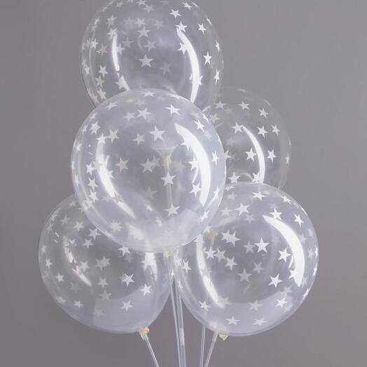 """Набор воздушных шаров """"Звёздочки белые"""" 5 шт"""