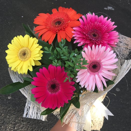 Bouquet of 5 gerberas with registration