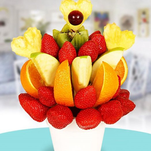 Фруктовый букет ЛЮБИМЫЕ ФРУКТЫ: букеты цветов на заказ Flowwow