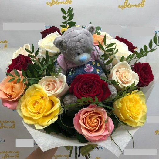 Букет из 17 роз с игрушкой