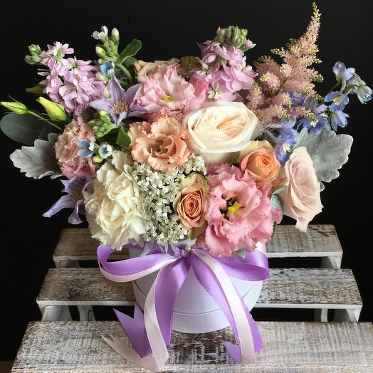 Ароматная коробочка в акварельных тонах : букеты цветов на заказ Flowwow
