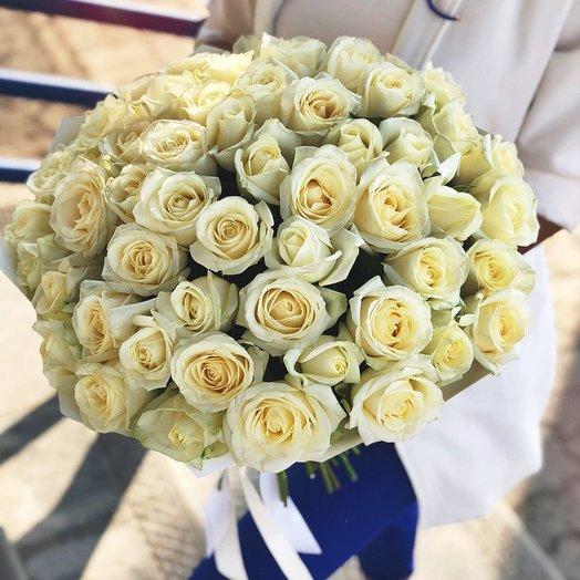 Букет из 77 белых роз 60 см: букеты цветов на заказ Flowwow