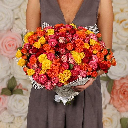 51 роза кустовая микс: букеты цветов на заказ Flowwow